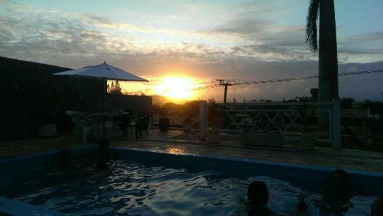 Lagoa Beach Hostel: Terrace, Pool and Most Beautiful Sunset
