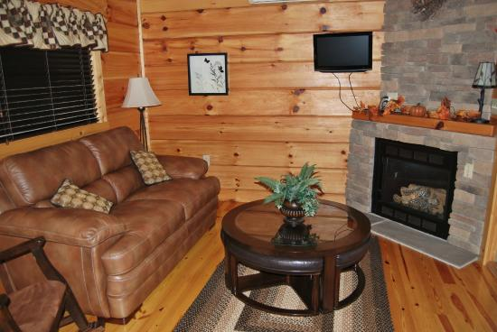 Ole Mink Farm Recreation Resort: Whitetail Ridge Luxury Log Cabin ~ living room with gas log fireplace.