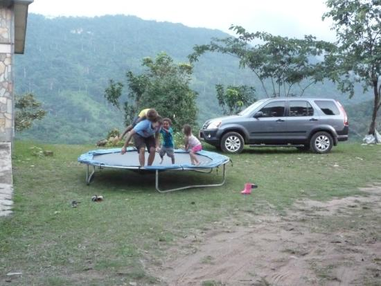 Biakpa Mountain Paradise: Clearly overloading the trampoline