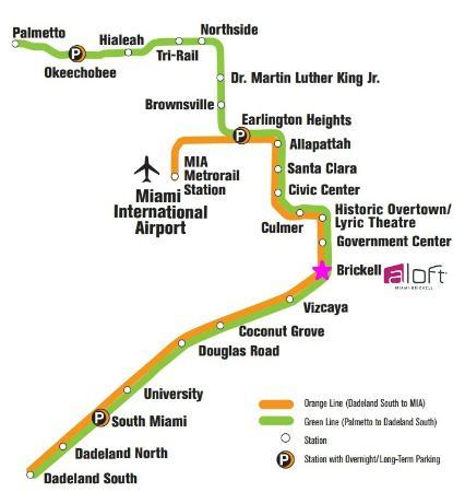 Aloft Miami Brickell: Air port to Aloft Map