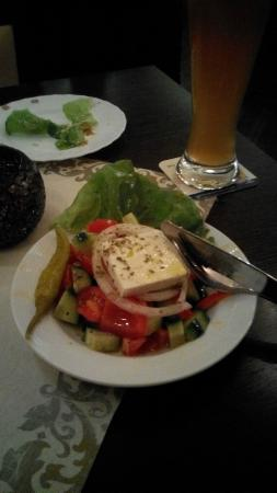 Mykonos: Feta chesse /greek salad. Could do with more than one olive...