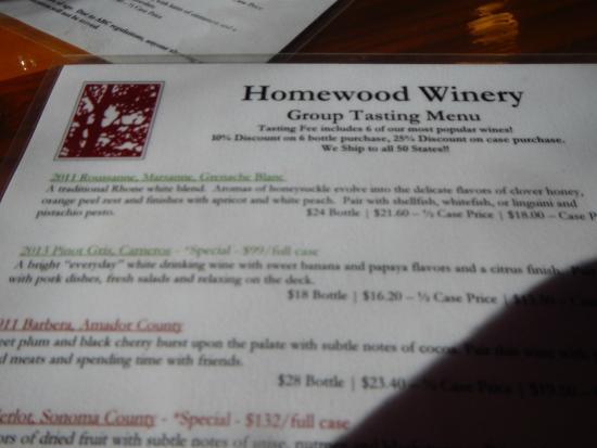 Homewood Winery: wine tasting menu