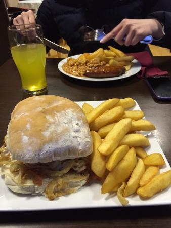 The Peppercorn Bistro: Chicken Burger and Chucky Chips. Delicious