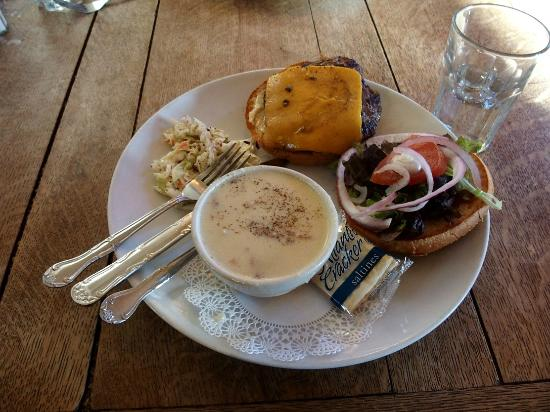 Brewster's Fine Foods: Beef Hamburger, Potato/Bacon Soup, and Cole Slaw