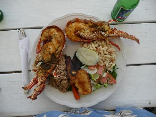 Codrington, Остров Барбуда: lobster lunch- yum!