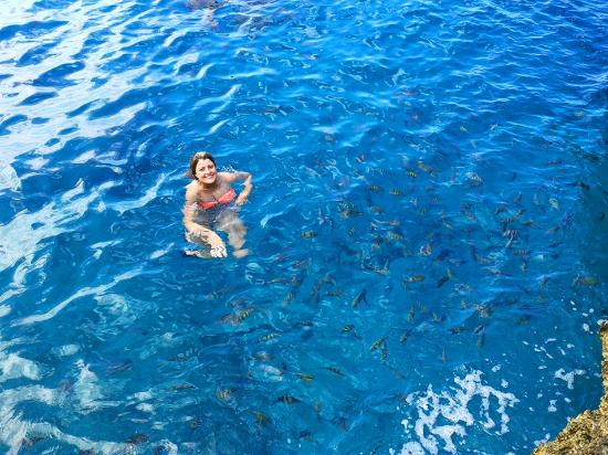 Posada San Andres Ultd.: Our Guest Catiani from Brasil at the Natural Swiming Pool