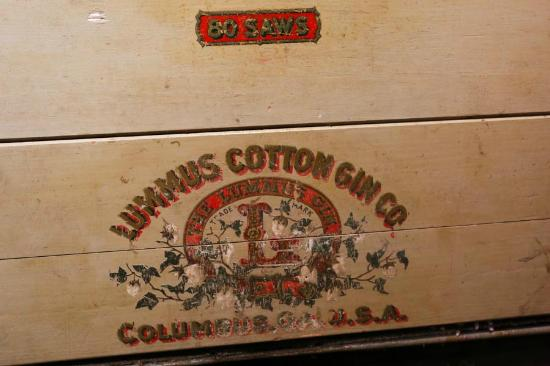 Burton Cotton Gin and Museum: Sign on one of the gins