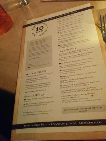 10 Acres Bistro Bar: new menu