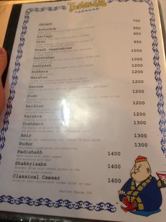 Tyubeteika: Tarditional menu