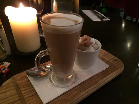 The Russell Restaurant: Latte served in an unusual but lovely way
