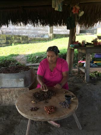 Agouti Cacao Farm : Adalia, Eladio and Virginia's eldest daughter, creating the cacao nibs.
