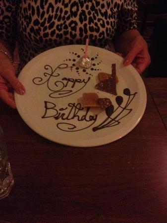 Yann's: Mum didnt order a dessert but as they knew it was her birthday they did this!! So thoughtful