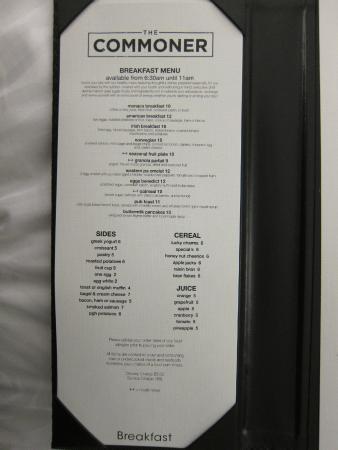 In room dining menu
