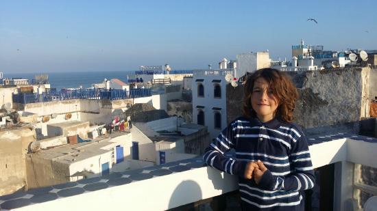 Riad Bab Essaouira, view from terrace, ocean, seagull, sun...