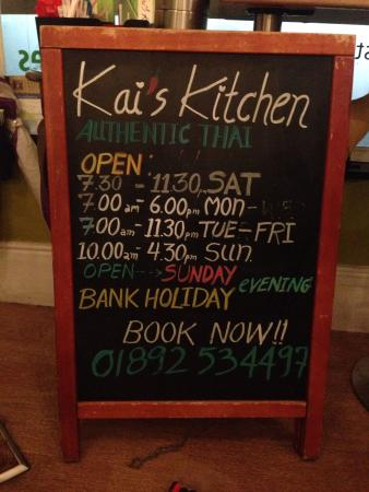 Our New Opening Hours @ Kai\'s Kitchen - Picture of Kai\'s Kitchen ...