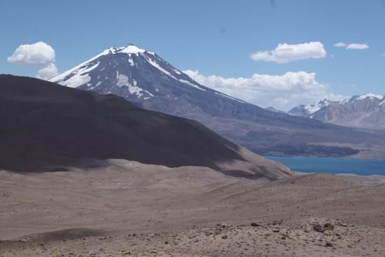 San Carlos, Argentina: Coming around a turn, and you see this. The Maipo Volcano and the Diamond Lake, Laguna del diama