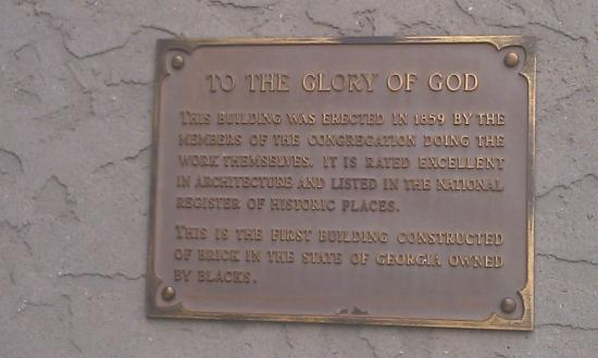 First African Baptist Church: Plaque of Church History