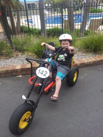 Ingenia Holidays Broulee: My son on one of the bikes you can hire.