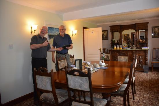 Crubenbeg House: With John in the breakfast area.