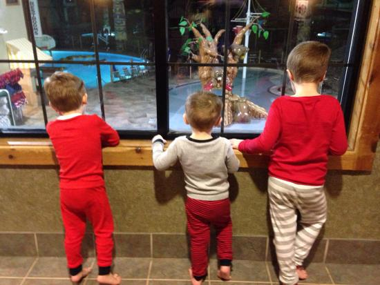 Great Wolf Lodge: The kids watching the life guards play hide & seek after hours! :)