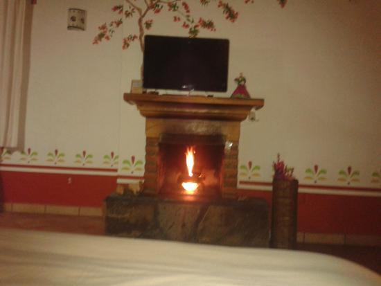 Hotel Huerta Real: Chimenea