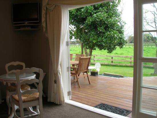 Blairgowrie House: View from Tulip Suite, out to guest deck and countryside.