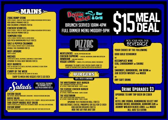 Down Under Bar and Grill: $15 Meal deal