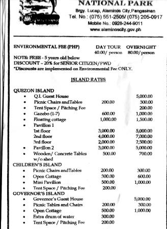 Alaminos City, Filipinas: Hundred Islands Rates part 1 of 2