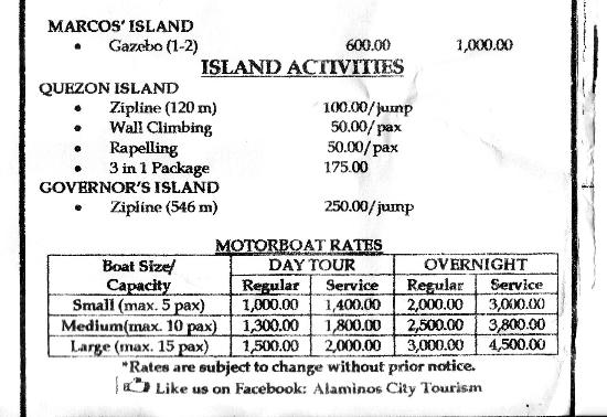 Alaminos City, Filipinas: Hundred Islands Rates part 2 of 2