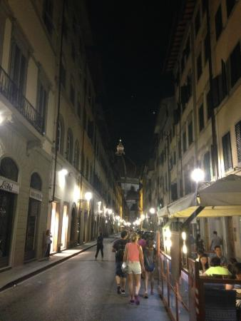 Night view of the Duomo from the hotel entrance.  Very well lit area.