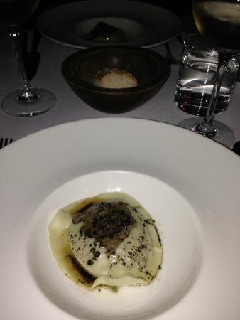 The Restaurant at Drakes: a pasta stuffed dish with summer truffle, I think