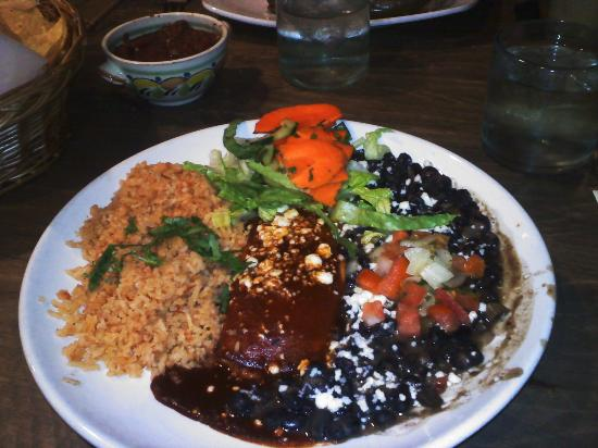 Maria's Cantina: cheese enchilada with rojo sauce and black beans