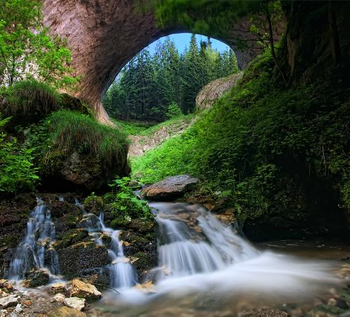 Shiroka Laka, บัลแกเรีย: Wonderful Bridge in spring time - a natural phenomenon