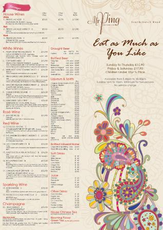 Mr Ping Chinese Restaurant Benfleet Menu