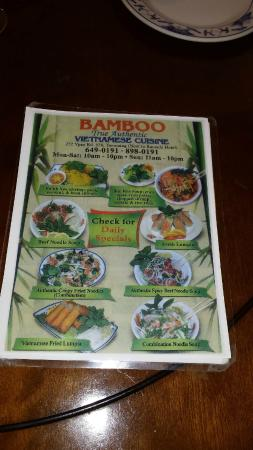 Menu 1 picture of bamboo authentic vietnamese cuisine guam tripadvisor for Authentic vietnamese cuisine