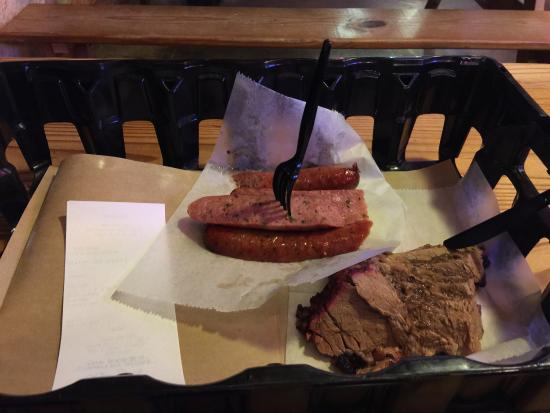 Rudy's: Jalapeños sausage and moist brisket
