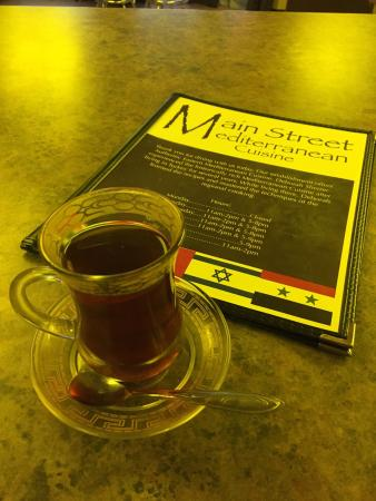 The Main Street Mediterranean Cuisine: The Complimentary Turkish Tea is wonderful!