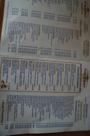 Hotel San Diego: cardápio de café da manhã