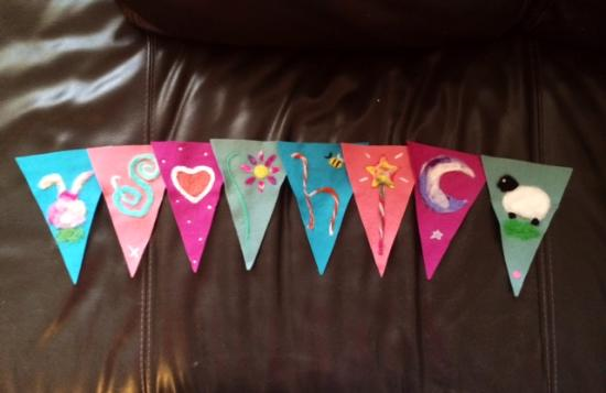 Made and Making: Sophie felt bunting before I sewed the ribbon on