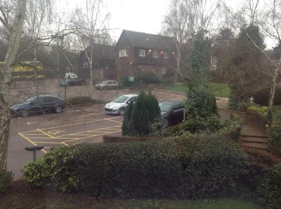 Premier Inn Tonbridge Hotel: view from our window. Overlooking large car park and restaurant/bar.