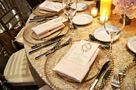 Edison Ballroom: Beautiful place settings at one of our summer weddings