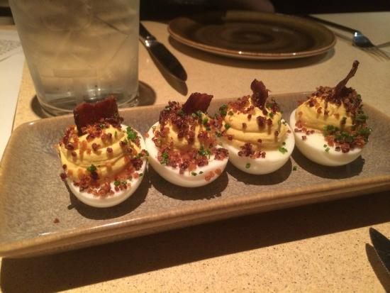Fog City : Deviled Eggs with quinoa and bacon