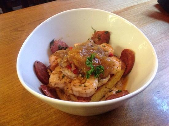 The Celtic Fringe: Cajun-spiced shrimp and Andouille sausage served over polenta