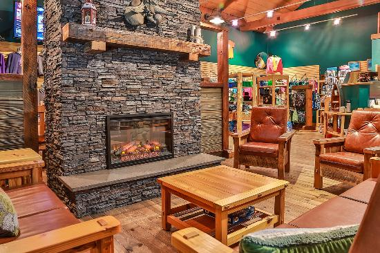 The Waters of Minocqua: New seating and fireplace in coffee shop serving Starbuck's finest!