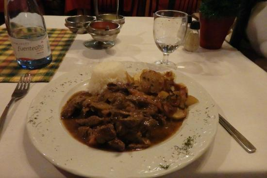 La Herrería: From special menu of the day: sliced meat with rice and potatoes