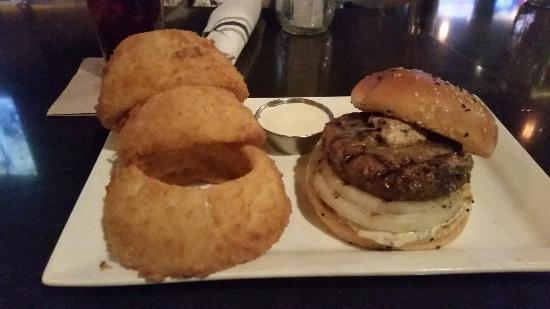 Eureka Burger: Bone marrow burger and giant onion rings