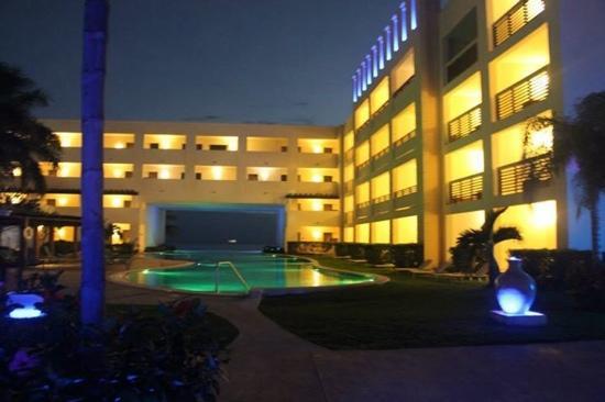 infinity pool at night