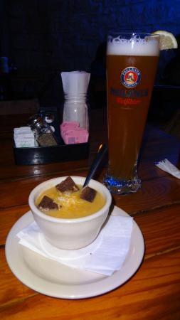 Auslander Restaurant: beer and potato soup (both good)