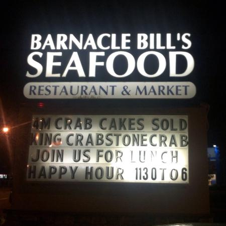 Barnacle Bill's Seafood: It's hard to miss this northern Barnacle Bill location because of its big sign.