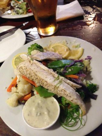 Ocean Child Inn: Grilled Trevalla with steamed vegetables and tartare sauce